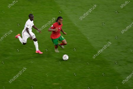 Renato Sanchez of Portugal battles for possession with N'Golo Kante of France during the UEFA European Championship 2020 football match between Portugal and France at Stadium Puskas Ferenc on June 23, 2021 in Budapest, Hungary.