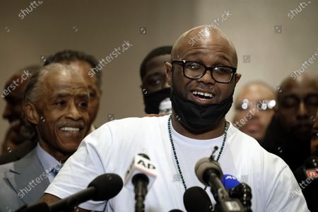 George Floyd's brother, Terrence Floyd, speaks during a news conference after the verdict was read in the trial of former Minneapolis Police officer Derek Chauvin, who was convicted of second-degree unintentional murder and other charges in Floyd's May 25, 2020, death, in Minneapolis. Floyd's family members - including his brothers Terrence and Philonise and his nephew Brandon Williams - will give statements in court Friday, June 25, before Chauvin is sentenced