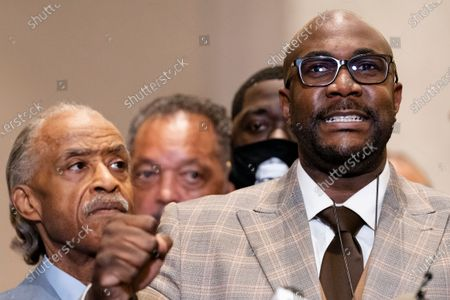 Philonise Floyd, brother of George Floyd, speaks during a news conference after former Minneapolis police Officer Derek Chauvin was convicted in the killing of George Floyd, in Minneapolis. Floyd's family members - including his brothers Philonise and Terrence and his nephew Brandon Williams - will give statements in court Friday, June 25 before Chauvin is sentenced