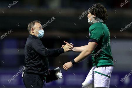 Wales vs Ireland. Ireland head coach Richie Murphy celebrates after the game with Alex Soroka