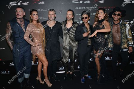Ninel Conde, Hector Quijano, Kalimba, Patricia Manterola, Samuel Parra attend at red carpet of the premiere of Musical Siete at Mexico City Pepsi Center
