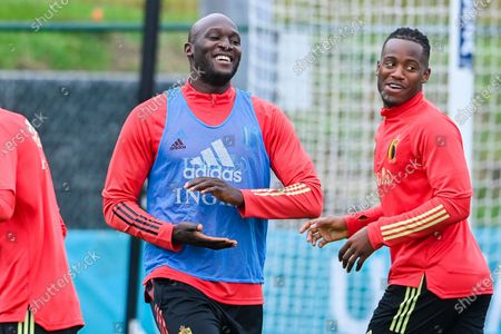 Belgium's Romelu Lukaku and Belgium's Michy Batshuayi pictured during a training session of the Belgian national soccer team Red Devils, in Tubize, Friday 25 June 2021. The team is preparing the round of 16 game of the Euro 2020 European Championship against Portugal, on Sunday in Spain.