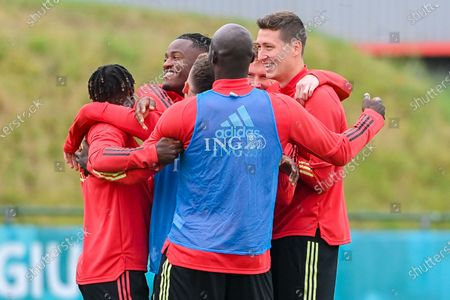 Belgium's Michy Batshuayi, Belgium's Jeremy Doku, Belgium's Romelu Lukaku, Belgium's Kevin De Bruyne and Belgium's Hans Vanaken pictured during a training session of the Belgian national soccer team Red Devils, in Tubize, Friday 25 June 2021. The team is preparing the round of 16 game of the Euro 2020 European Championship against Portugal, on Sunday in Spain.