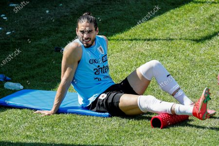 Uruguayan soccer player Martin Caceres during a training session in Cuiaba, Brazil, 25 June 2021. Uruguay will play to Paraguay on 28 June 2021 in the Copa America tournament.