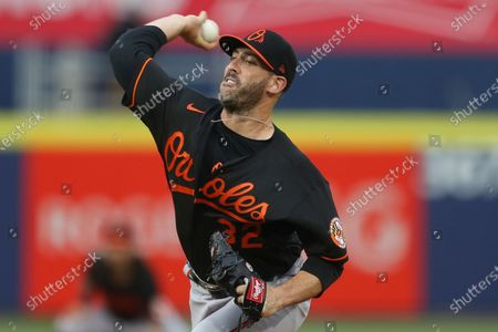 Baltimore Orioles starting pitcher Matt Harvey throws during the first inning of a baseball game against the Toronto Blue Jays in Buffalo, N.Y
