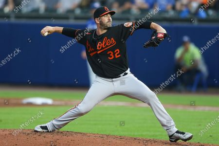 Baltimore Orioles starting pitcher Matt Harvey throws during the fourth inning of a baseball game against the Toronto Blue Jays in Buffalo, N.Y