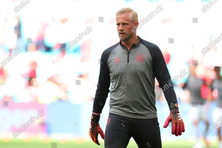 Goal Keeper Kasper Schmeichel of Denmark during the pre match warm up