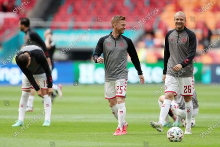 Anders Christiansen and Nicolai Boilesen of Denmark during the pre match warm up