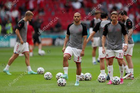 Martin Braithwaite and Jens Stryger Larsen of Denmark during the pre match warm up