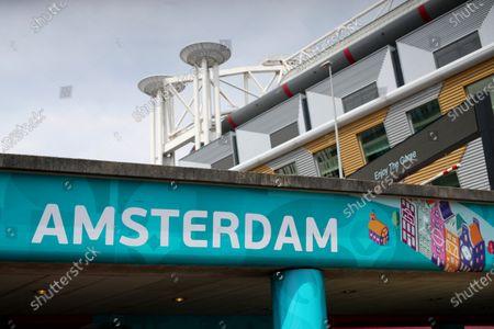 Stock Photo of UEFA EURO 2020 branding at the Johan Cruijff Arena