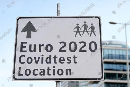 EURO 2020 Covid sign outside the stadium