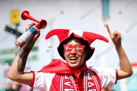 Denmark fans make their way to the stadium