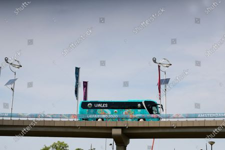 Stock Picture of The Wales team coach arrives at the Johan Cruijff Arena