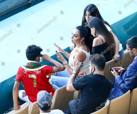 Stock Photo of The girlfriend of Cristiano Ronaldo, Georgina Rodriguez and son Cristiano Ronaldo Jr In the stands