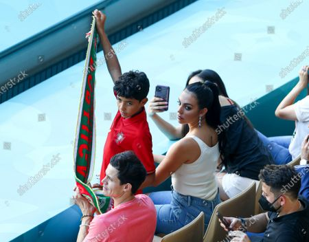 The girlfriend of Cristiano Ronaldo, Georgina Rodriguez and son Cristiano Ronaldo Jr In the stands