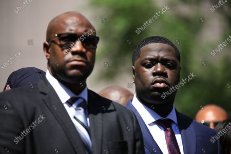 Stock Photo of Philonise Floyd, George Floyd's brother (left), and Brandon Williams, George Floyd's nephew (right), at a press conference following Derek Chauvin's sentencing for his thrice-guilty conviction for the death of George Floyd. Chauvin received 22.5 years in prison.