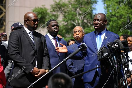 Left to right: Philonise Floyd, Brandon Williams, Reverend Al Sharpton, and Attorney Benjamin Crump. Press conference following Derek Chauvin's sentencing for his thrice-guilty conviction for the death of George Floyd. Chauvin received 22.5 years in prison.