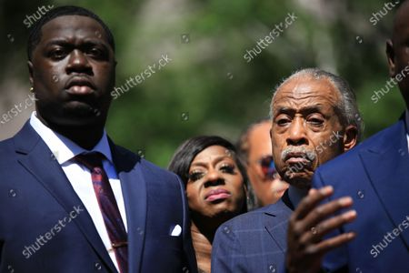 Brandon Williams, George Floyd's nephew (left), and Reverend Al Sharpton (right) at a press conference following Derek Chauvin's sentencing for his thrice-guilty conviction for the death of George Floyd. Chauvin received 22.5 years in prison.