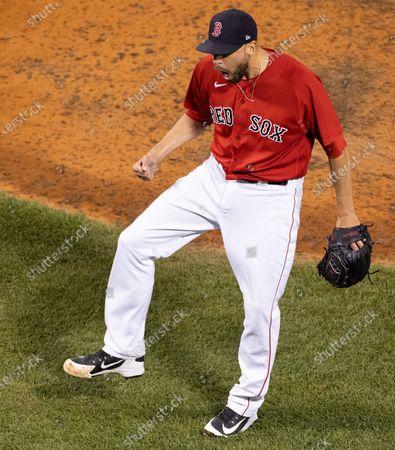 Boston Red Sox relief pitcher Matt Barnes celebrates the win over the New York Yankees at Fenway Park in Boston, Massachusetts, USA, 25 June 2021.