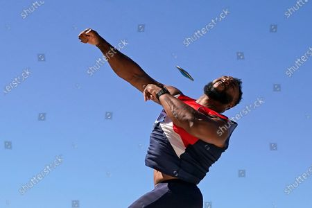 Brian Williams competes during the finals of the men's discus throw at the U.S. Olympic Track and Field Trials, in Eugene, Ore