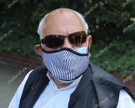 Member of Indian Parliament and President of National Conference (NC) Farooq Abdullah speaks to the media in Srinagar, the summer capital of Indian Kashmir, India, 26 June 2021, fter their return from Delhi, where they attended the All Party Meeting on J&K convened by Indian Prime Minister Narendra Modi on June 24.