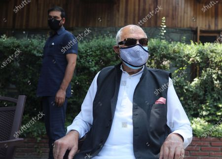 Stock Image of Member of Indian Parliament and President of National Conference (NC) Farooq Abdullah speaks to the media in Srinagar, the summer capital of Indian Kashmir, India, 26 June 2021, fter their return from Delhi, where they attended the All Party Meeting on J&K convened by Indian Prime Minister Narendra Modi on June 24.