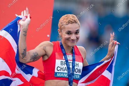 Stock Picture of Jodie Williams 200m winner; Manchester Regional Arena, Manchester, Lancashire, England; Muller British Athletics Championships.