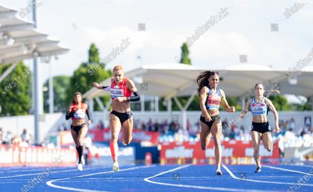 Stock Image of Jodie Williams wins the 400m and qualifies for Tokyo; Manchester Regional Arena, Manchester, Lancashire, England; Muller British Athletics Championships.