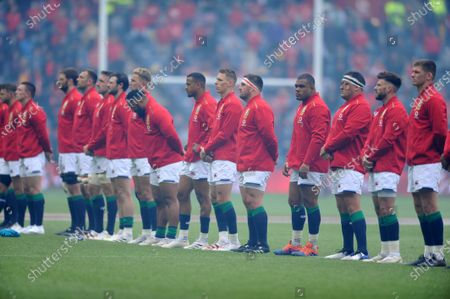 (R to L) Owen Farrell, Ali Price and Jamie George, Kyle Sinckler, Alun Wyn Jones and Liam Williams - British & Irish Lions players lines up before kick off.
