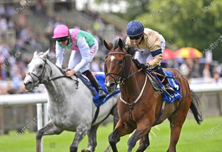 (R) Outbox (Hollie Doyle) wins The Close Brothers Fred Archer Stakes from (L) Logician (Robert Havlin).Photo © Hugh Routledge