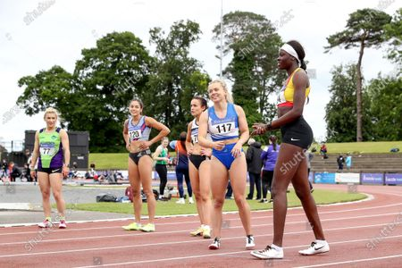 Stock Picture of Women's 100m Final . Molly Scott of St. L. O'Toole A.C.and Rhasidat Adeleke of Tallaght A.C