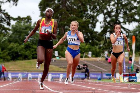 Women's 100m Final . Rhasidat Adeleke of Tallaght A.C on her way to winning ahead of Molly Scott of St. L. O'Toole A.C.