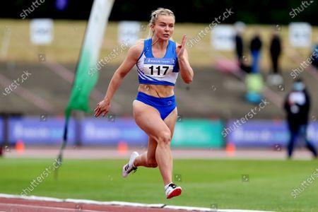 Stock Image of Women's 100m Heats . Molly Scott of St. L. O'Toole A.C.