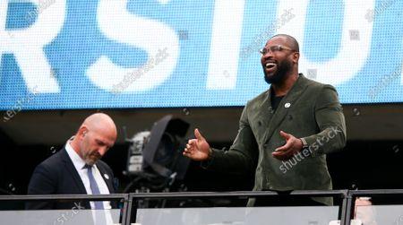 Ugo Monye (BT Sport - ex England & Quins player) celebrates