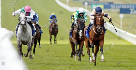 OUTBOX (right, Hollie Doyle) beats LOGICIAN (left) in The Close Brothers Fred Archer Stakes Newmarket