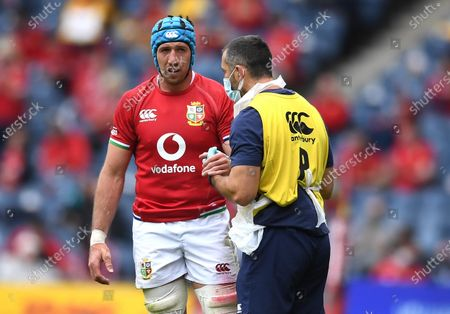 Justin Tipuric of British & Irish Lions is treated by physio John Miles