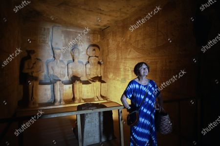 Macha Meril tours the temple of Abu Simbel, some 300km south of Aswan, Egypt, 26 June 2021. Macha Meril also participates in the Aswan International Women Film Festival, running from 24 to 28 June.