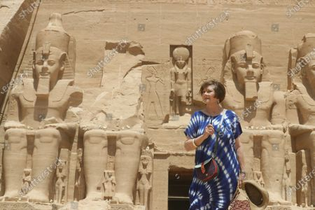Stock Image of Macha Meril tours the temple of Abu Simbel, some 300km south of Aswan, Egypt, 26 June 2021. Macha Meril also participates in the Aswan International Women Film Festival, running from 24 to 28 June.