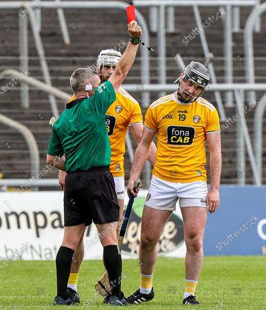 Stock Photo of Dublin vs Antrim. Antrim's Ryan McGarry receives a red card
