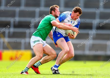 Limerick vs Waterford. Waterford's Michael Curry is tackled by Limerick's Darragh Treacy