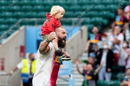 Joe Marler of Harlequins gees up the fans after his side won the Gallagher Premiership Play-Off Final Rugby match between Exeter Chiefs and Harlequins at Twickenham, Richmond