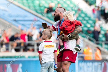 Joe Marler of Harlequins plays to the crowd after the Gallagher Premiership Play-Off Final Rugby match between Exeter Chiefs and Harlequins at Twickenham, Richmond