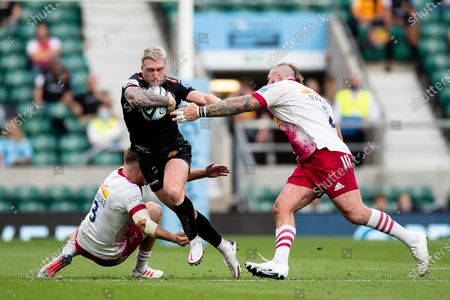 Stuart Hogg of Exeter Chiefs under pressure from Joe Marler of Harlequins during the Gallagher Premiership Play-Off Final Rugby match between Exeter Chiefs and Harlequins at Twickenham, Richmond