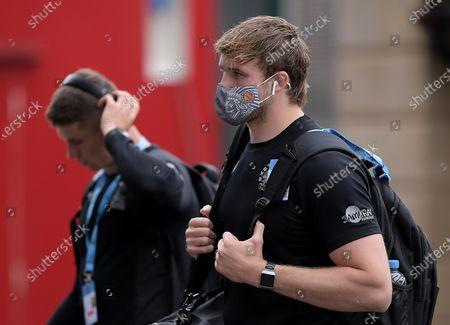 Jonny Gray of Exeter Chiefs arrives at Twickenham Stadium prior to kick off