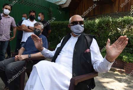 Editorial picture of Srinagar: Farooq Abdullah And Omar Abdullah Brief Media After All-Party Meeting With PM Modi, Jammuand Kashmir, India - 26 Jun 2021
