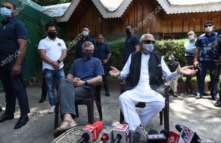 Editorial image of Srinagar: Farooq Abdullah And Omar Abdullah Brief Media After All-Party Meeting With PM Modi, Jammuand Kashmir, India - 26 Jun 2021