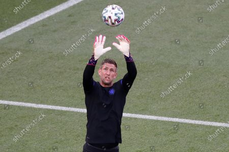 Netherlands' goalkeeper Maarten Stekelenburg attends a training session at the Ferenc Puskas stadium in Budapest, Hungary, the day before the Euro 2020 soccer championship round of 16 match match between the Netherlands and the Czech Republic
