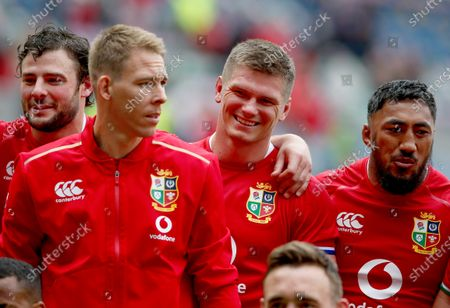 British and Irish Lions players (l-r) Robbie Henshaw, Liam Williams, Owen Farrell and Bundee Aki after the game