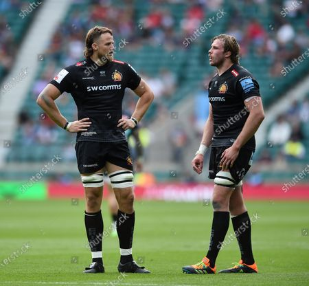 Jonny Hill and Jonny Gray of Exeter Chiefs