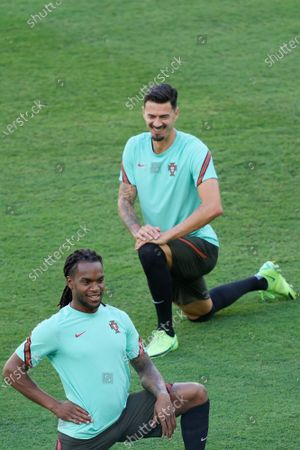 Portugal's players Renato Sanches (L) and Jose Fonte (R) attend a training session in Seville, Spain, 26 June 2021. Portugal will face Belgium in their UEFA EURO 2020 round of 16 soccer match on 27 June 2021.